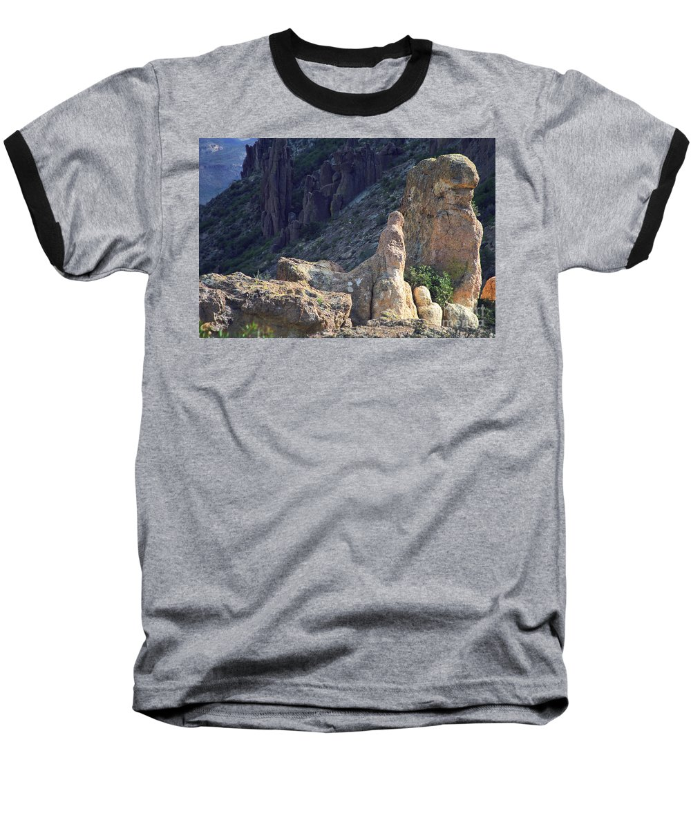 Rock Formations Baseball T-Shirt featuring the photograph A Hard Ride by Kathy McClure