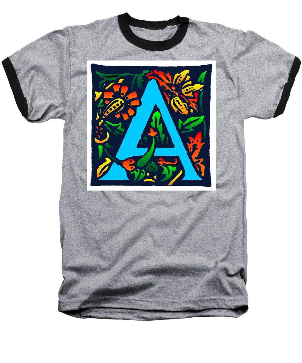 Alphabet Baseball T-Shirt featuring the digital art A In Blue by Kathleen Sepulveda