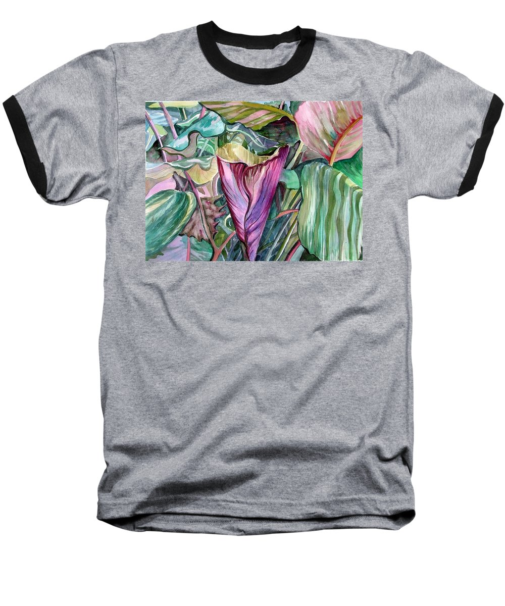 Garden Baseball T-Shirt featuring the painting A Light In The Garden by Mindy Newman