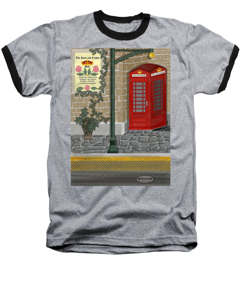 Cityscape Baseball T-Shirt featuring the painting A Merry Old Corner In London by Anne Norskog