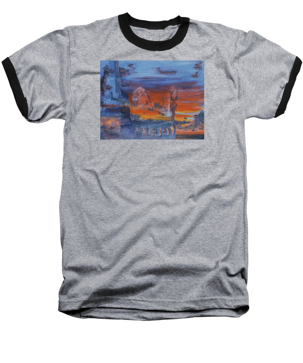 Abstract Baseball T-Shirt featuring the painting A Mystery Of Gods by Steve Karol