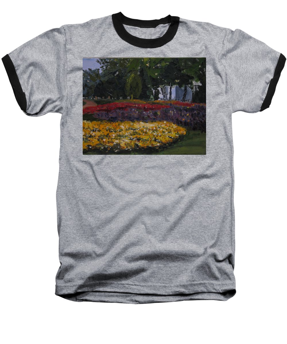 Landscape Baseball T-Shirt featuring the painting A Park In Cambrige by Piety Choi