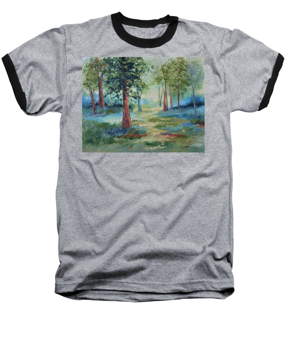 Trees Baseball T-Shirt featuring the painting A Path Not Taken by Ginger Concepcion