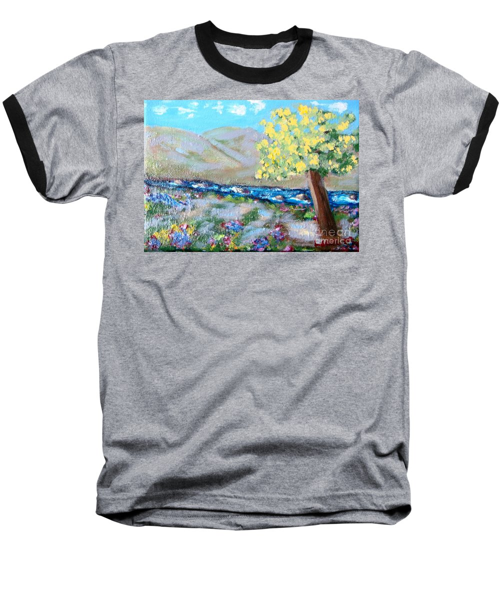 Landscapes Baseball T-Shirt featuring the painting A Quiet Place by Laurie Morgan