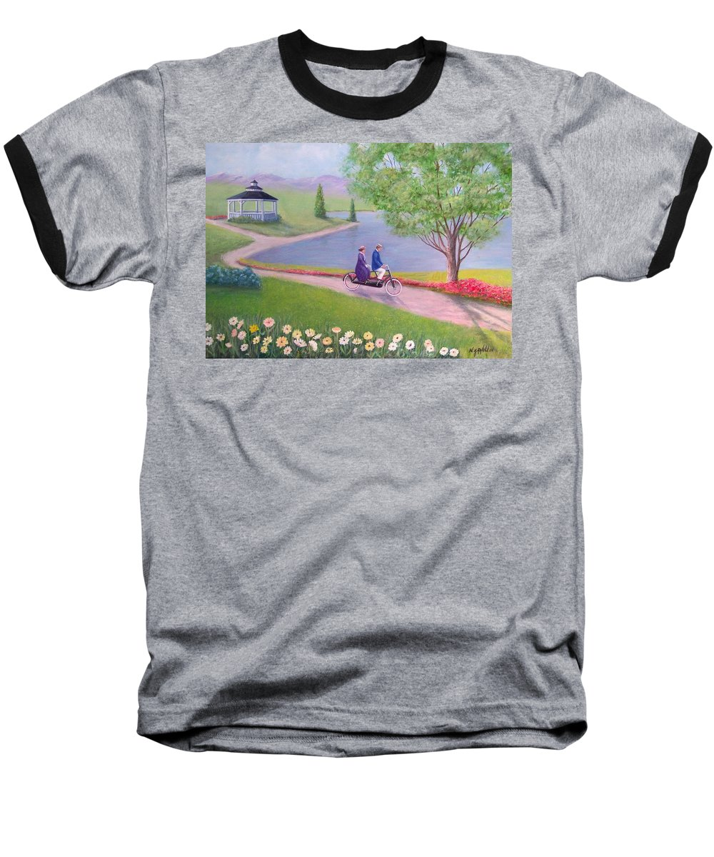Landscape Baseball T-Shirt featuring the painting A Ride In The Park by William H RaVell III