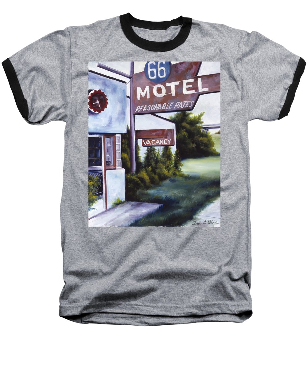 Motel; Route 66; Desert; Abandoned; Delapidated; Lost; Highway; Route 66; Road; Vacancy; Run-down; Building; Old Signage; Nastalgia; Vintage; James Christopher Hill; Jameshillgallery.com; Foliage; Sky; Realism; Oils Baseball T-Shirt featuring the painting A Road Less Traveled by James Christopher Hill