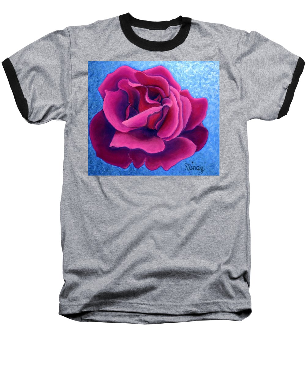Rose. Pink Rose Baseball T-Shirt featuring the painting A Rose Is A Rose.. by Minaz Jantz