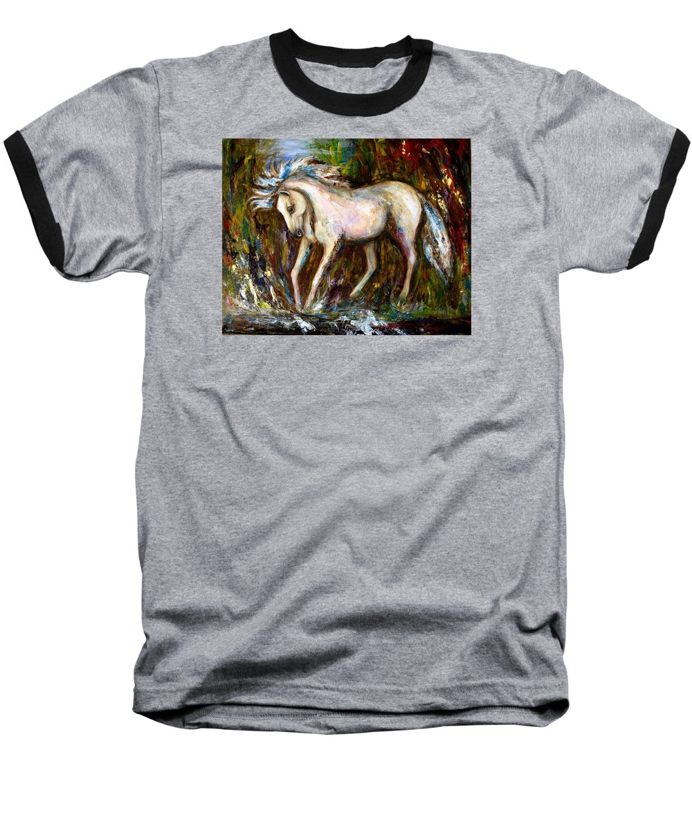 Horse Painting Baseball T-Shirt featuring the painting A Secret Place White Hores Painting by Frances Gillotti