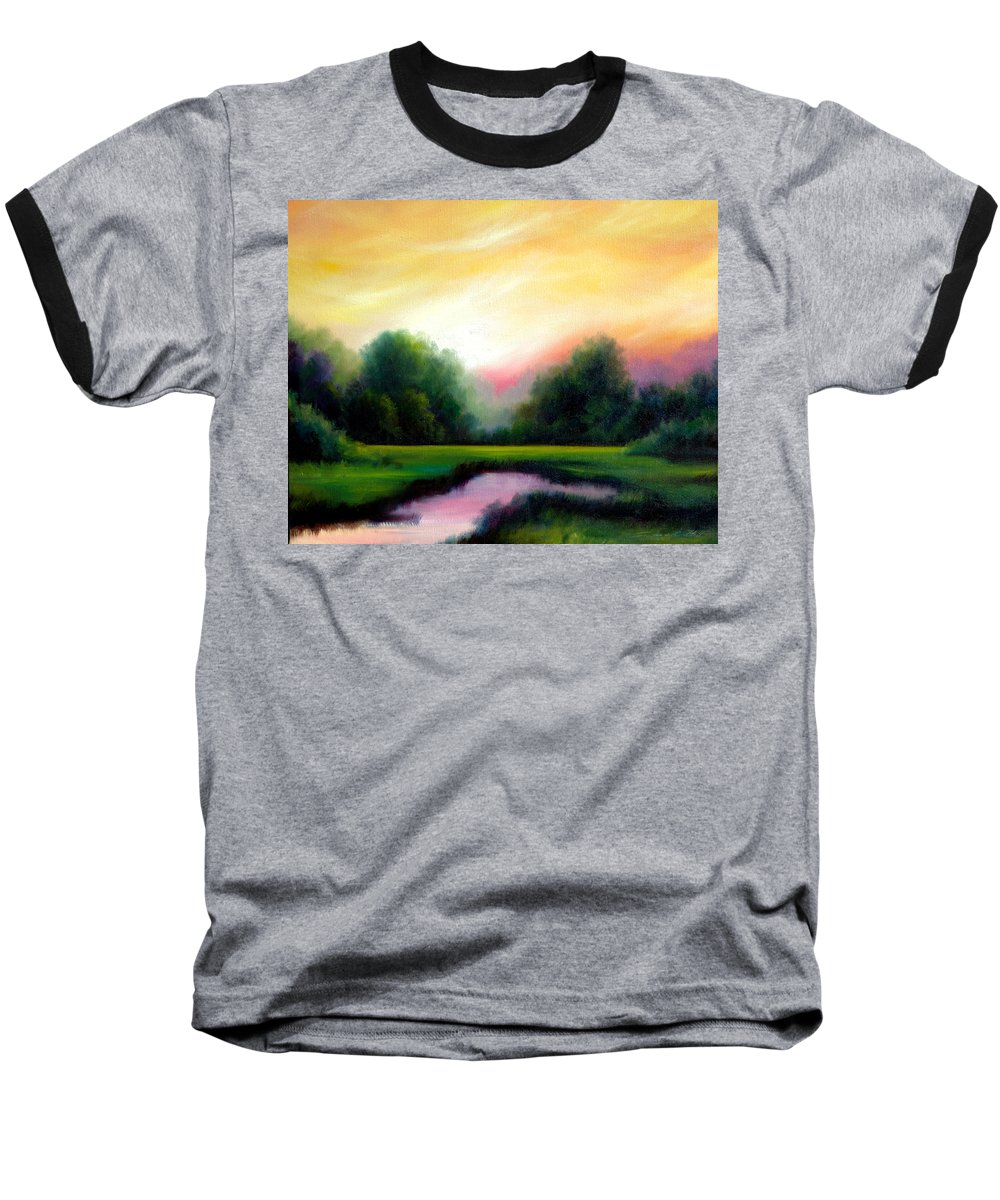 Clouds Baseball T-Shirt featuring the painting A Spring Evening by James Christopher Hill