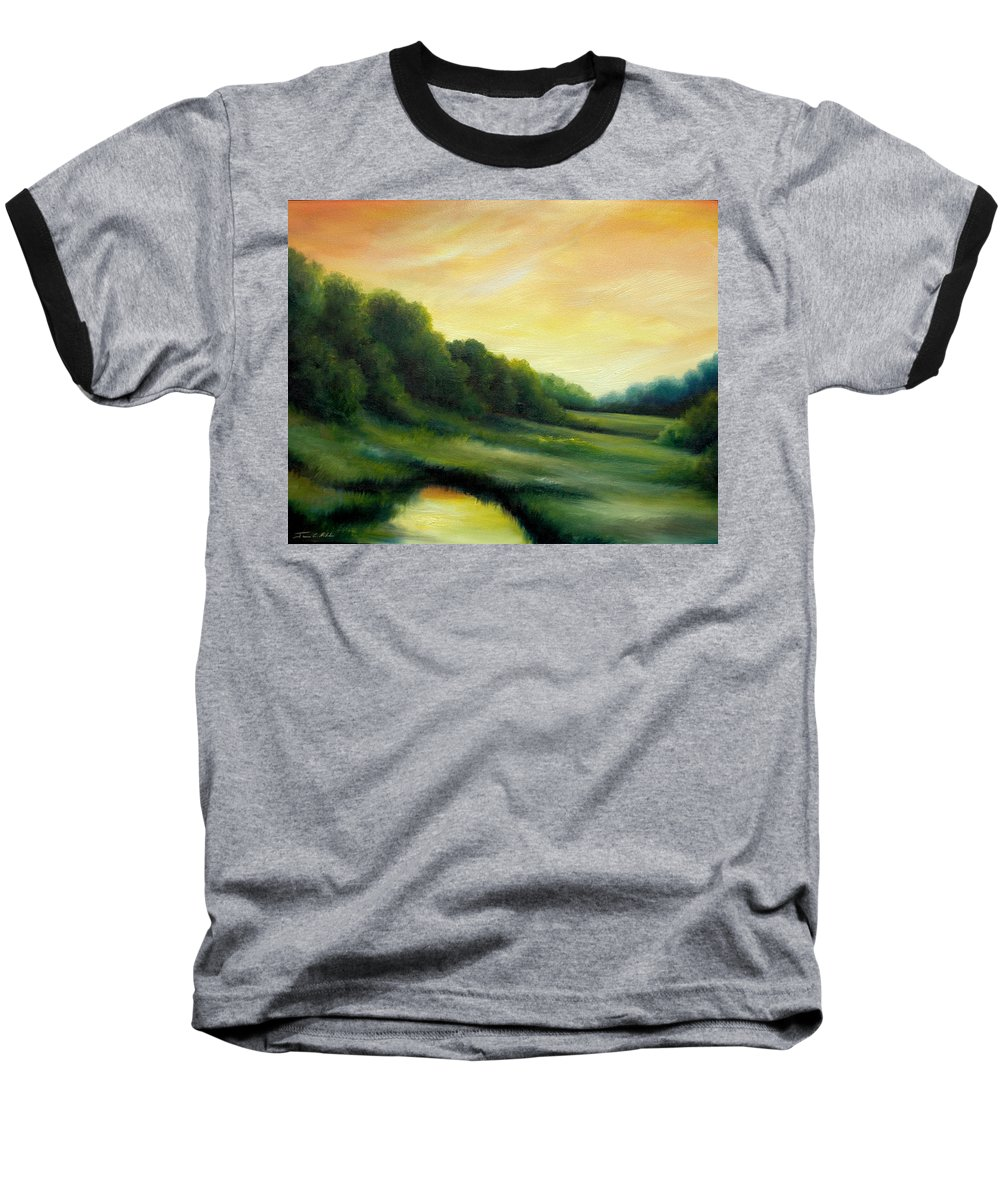 Clouds Baseball T-Shirt featuring the painting A Spring Evening Part Two by James Christopher Hill