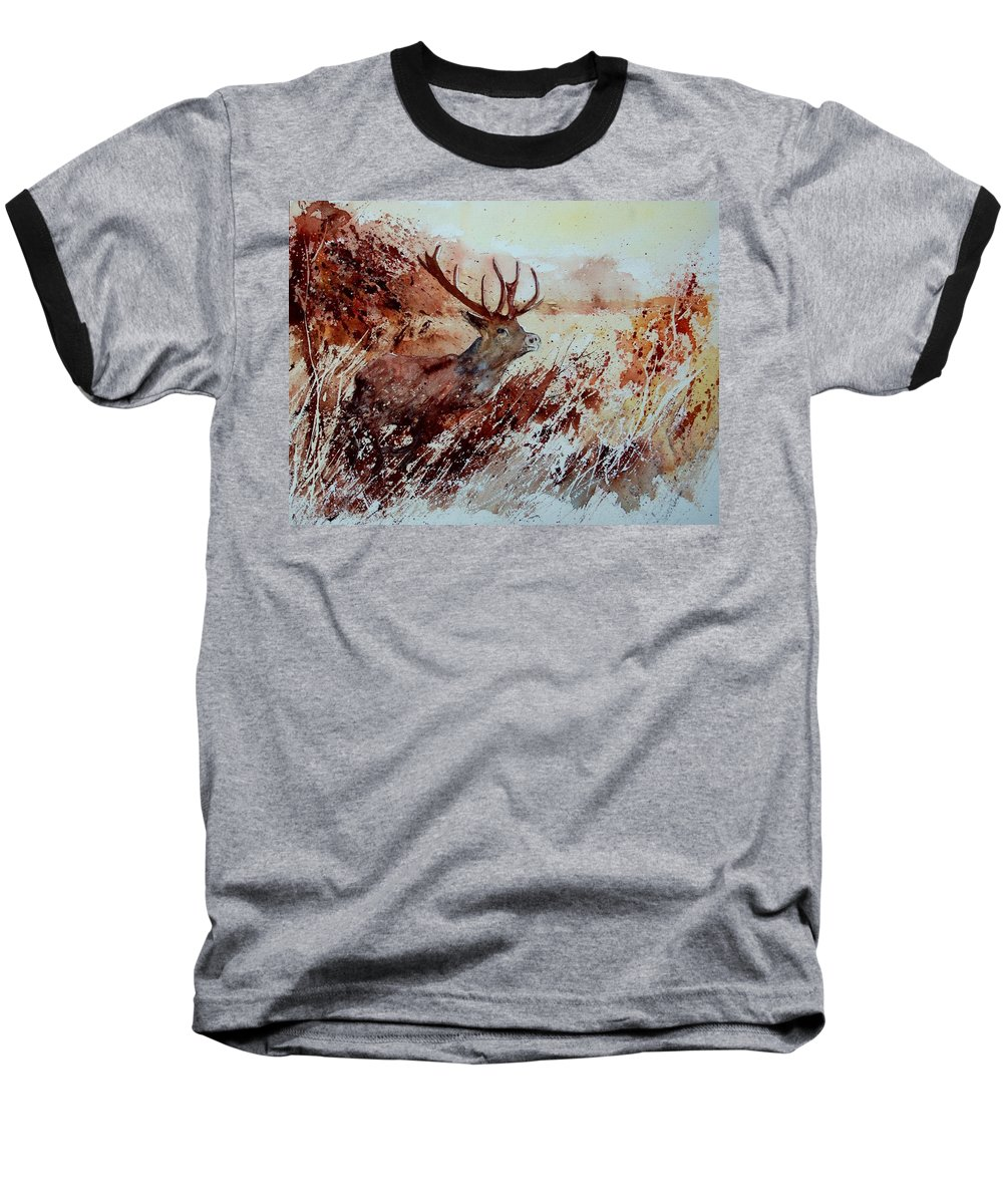 Animal Baseball T-Shirt featuring the painting A Stag by Pol Ledent