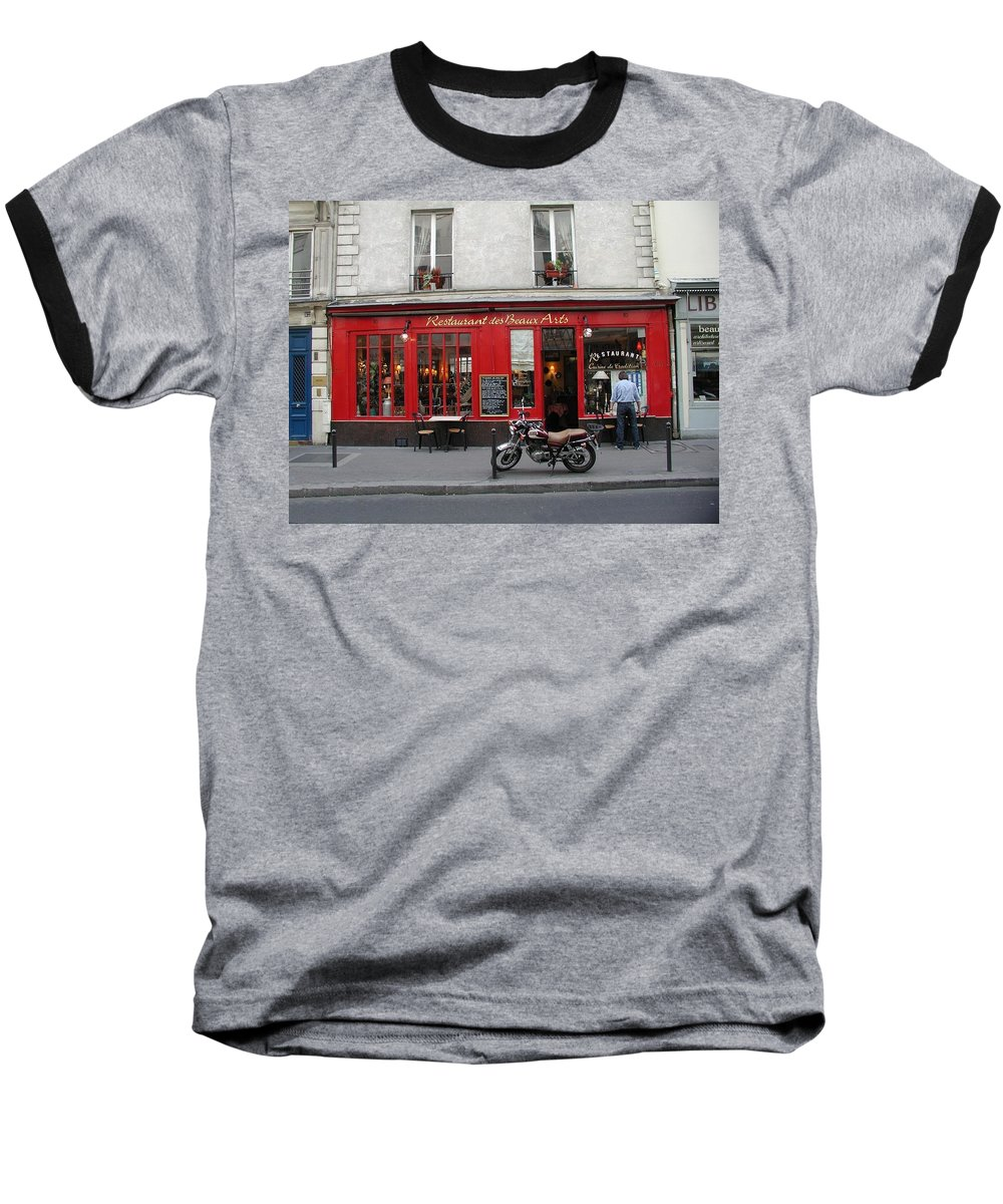 Red Baseball T-Shirt featuring the photograph A Stop Along The Journey by Tom Reynen