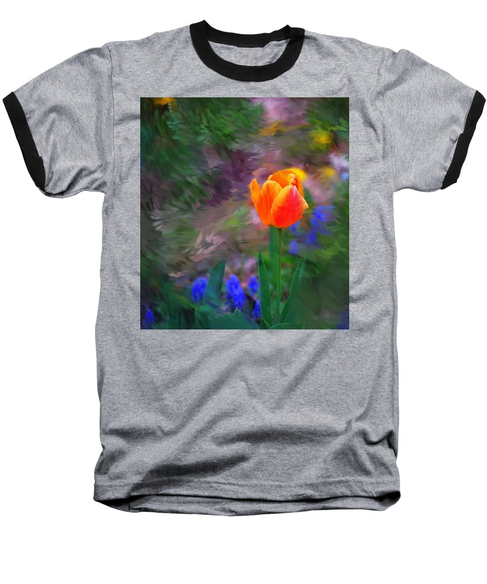 Floral Baseball T-Shirt featuring the digital art A Tulip Stands Alone by David Lane