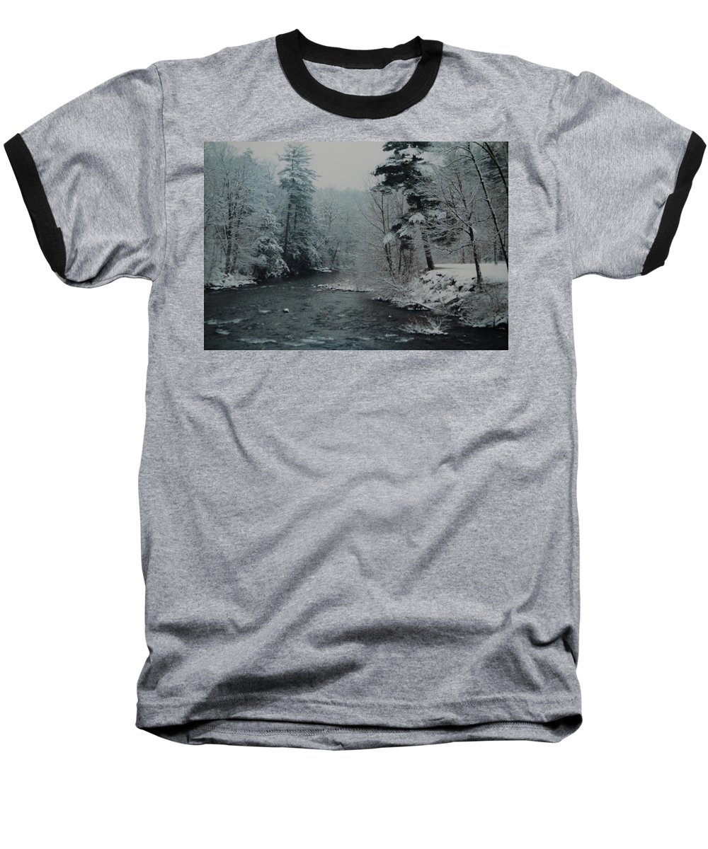B&w Baseball T-Shirt featuring the photograph A Winter Waterland by Rob Hans