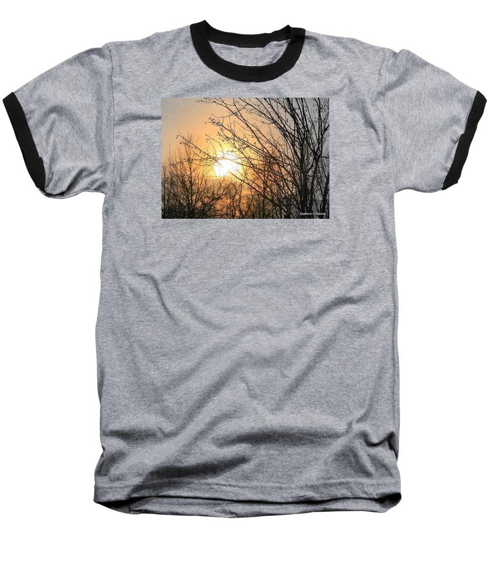Sun Baseball T-Shirt featuring the photograph A Winter's Day After Glow by J R Seymour