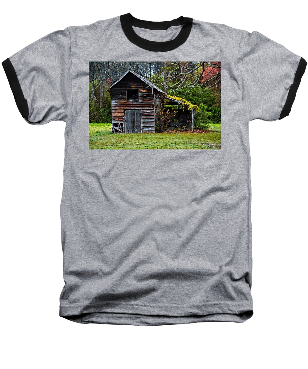 Barn Baseball T-Shirt featuring the photograph A Yellow Cover by Christopher Holmes