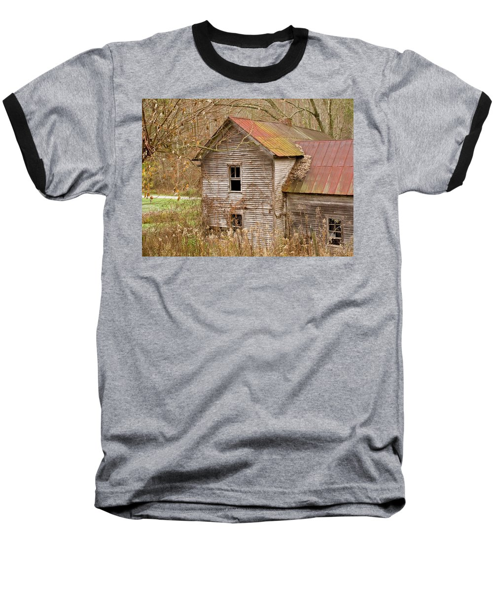Abandoned Baseball T-Shirt featuring the photograph Abandoned House With Colorful Roof by Douglas Barnett