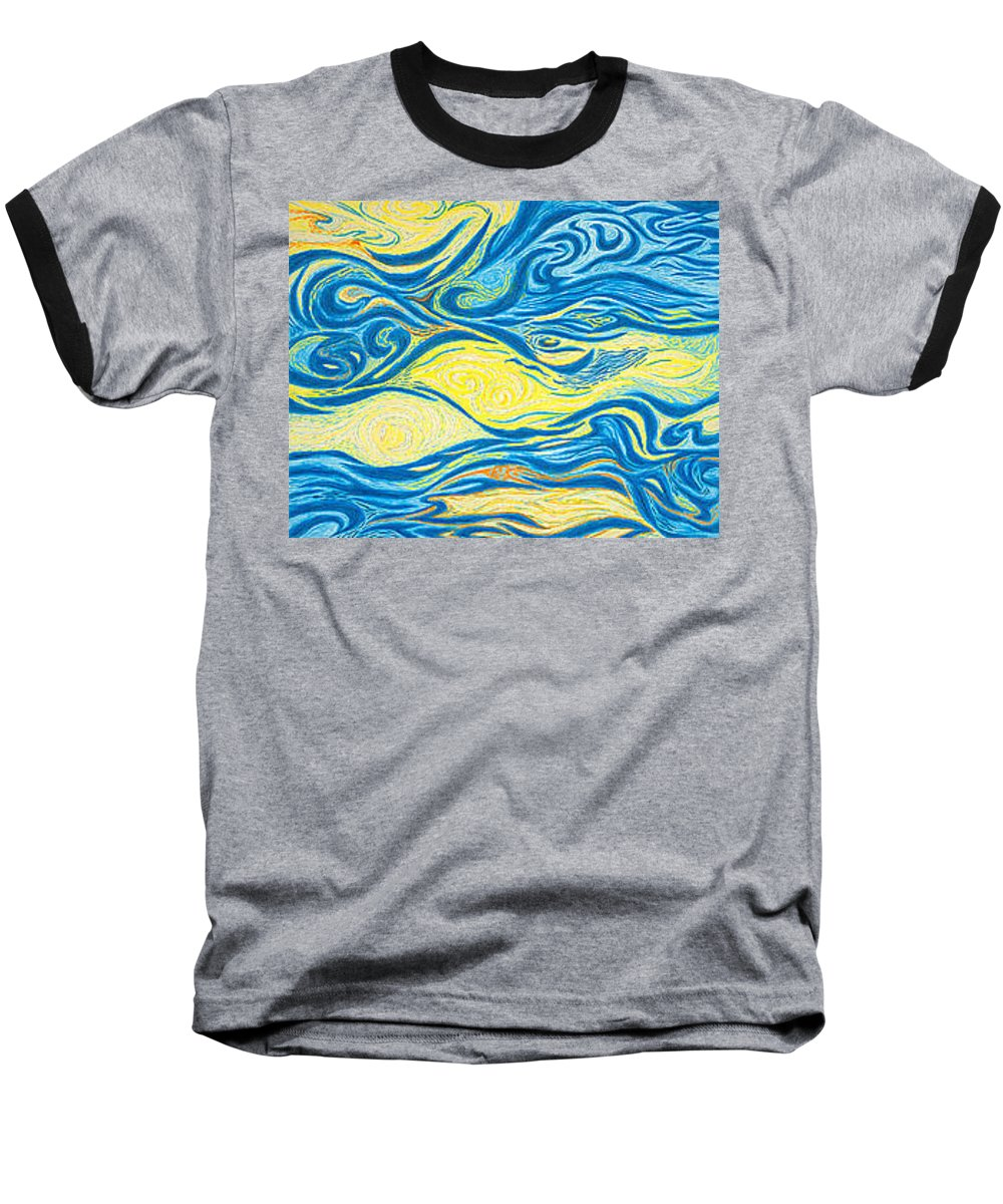 Art Baseball T-Shirt featuring the drawing Abstract Art Good Morning Contemporary Modern Artwork Giclee Fine Art Prints Life Cycle Swirls Water by Baslee Troutman