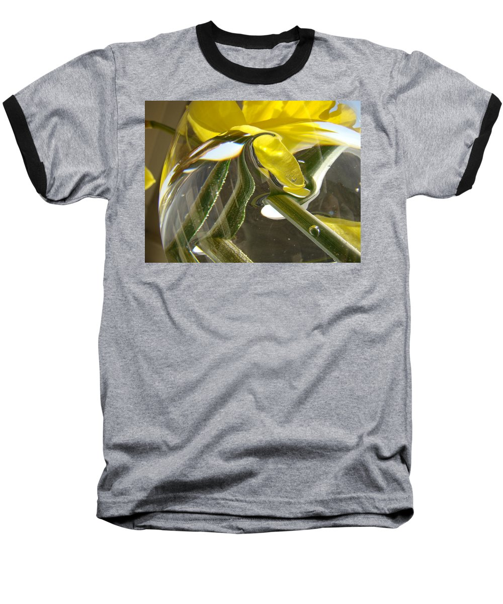 �daffodils Artwork� Baseball T-Shirt featuring the photograph Abstract Artwork Daffodils Flowers 1 Natural Abstract Art Prints Glass Vase Water Art Light Air by Baslee Troutman