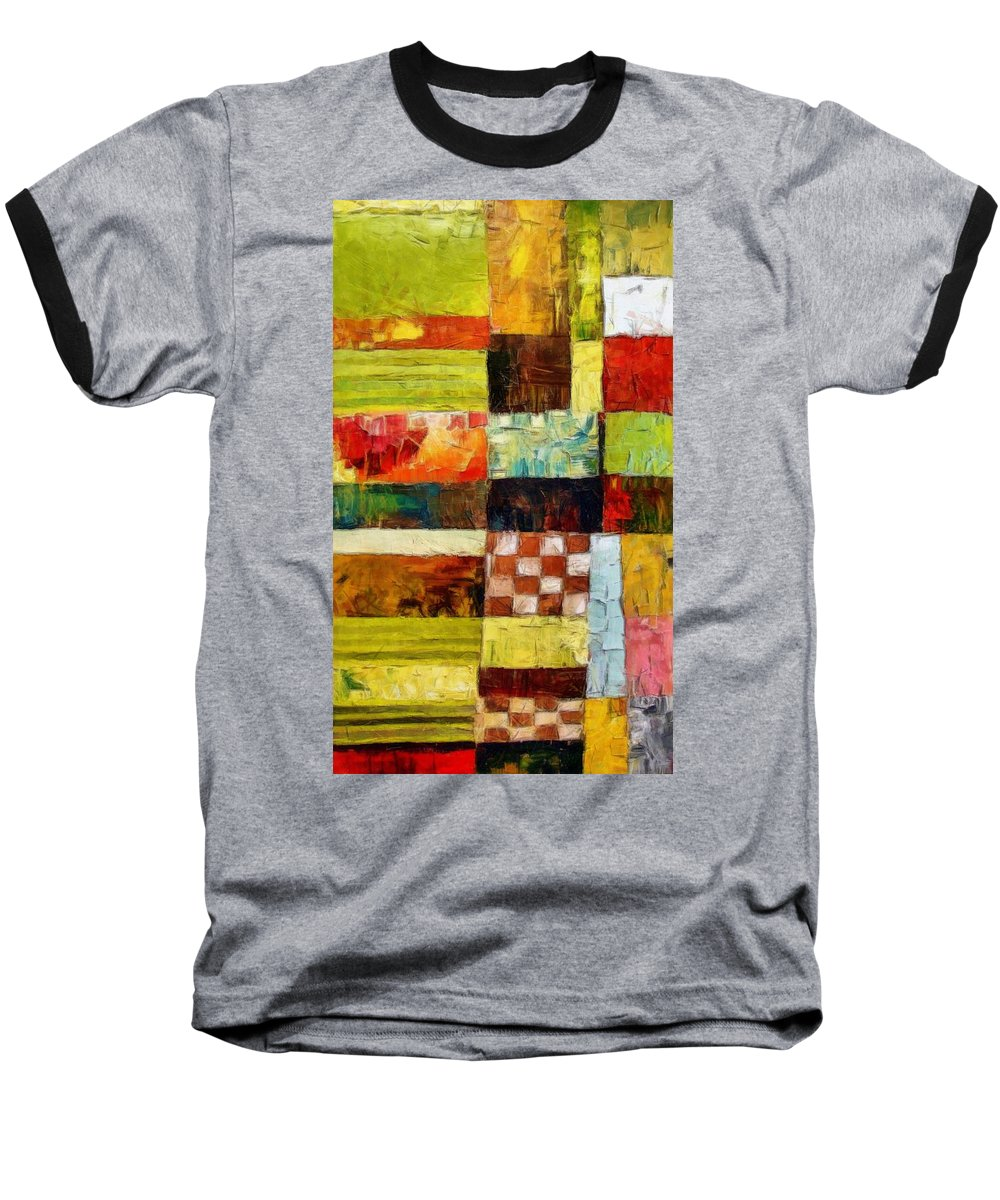 Patchwork Baseball T-Shirt featuring the painting Abstract Color Study With Checkerboard And Stripes by Michelle Calkins