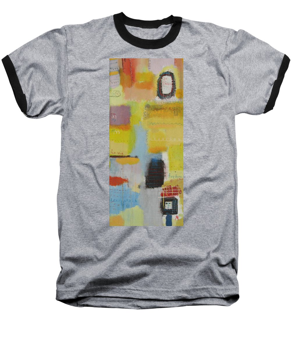 Abstract Baseball T-Shirt featuring the painting Abstract Life 3 by Habib Ayat