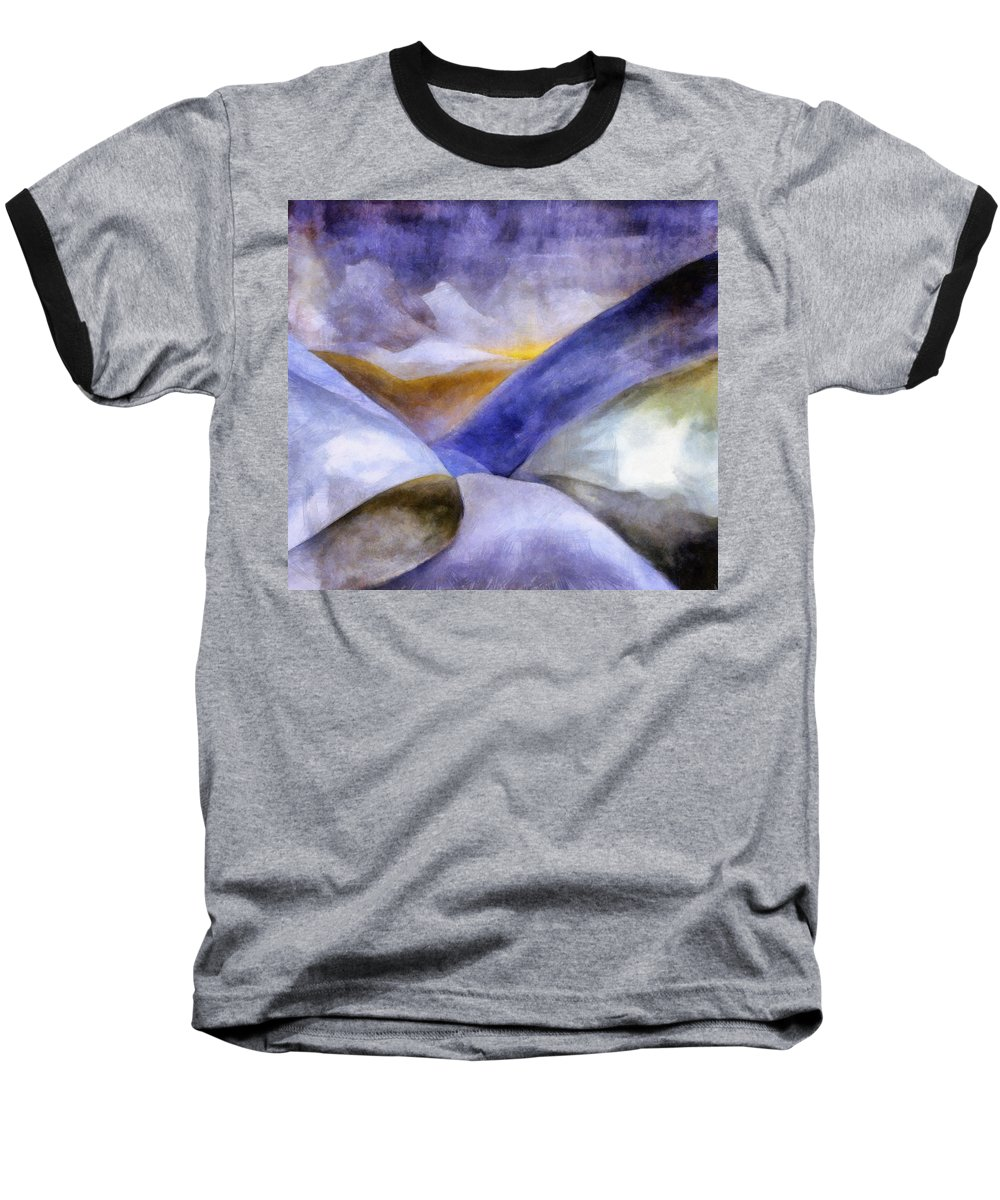 Blue Baseball T-Shirt featuring the painting Abstract Mountain Landscape by Michelle Calkins