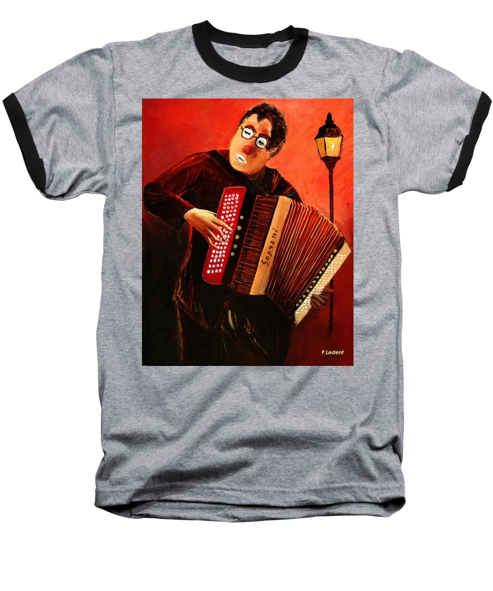 Music Baseball T-Shirt featuring the print Accordeon by Pol Ledent