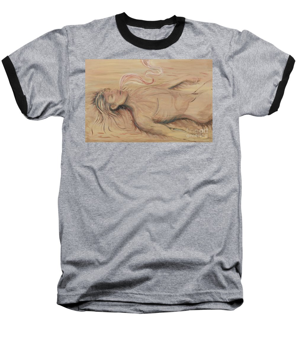 Adam Baseball T-Shirt featuring the painting Adam And The Breath Of God by Nadine Rippelmeyer