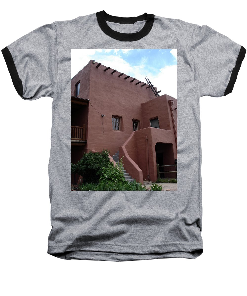 Santa Fe Baseball T-Shirt featuring the photograph Adobe House At Red Rocks Colorado by Merja Waters