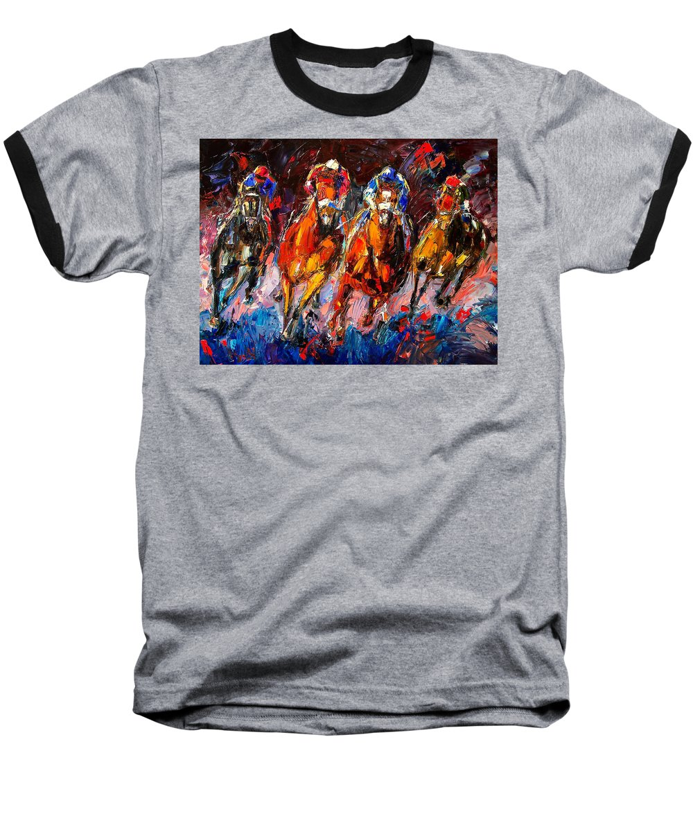 Horse Race Baseball T-Shirt featuring the painting Adrenaline by Debra Hurd
