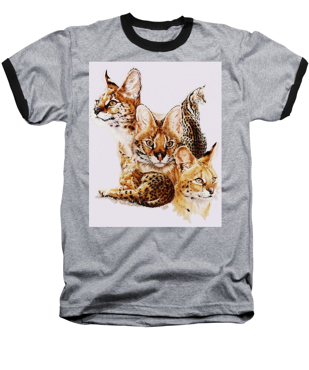 Serval Baseball T-Shirt featuring the drawing Adroit by Barbara Keith