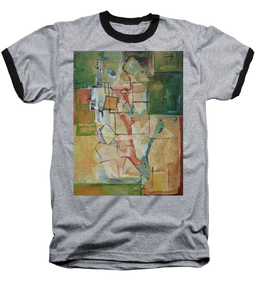Abstract Art Baseball T-Shirt featuring the painting Aerial by Ginger Concepcion