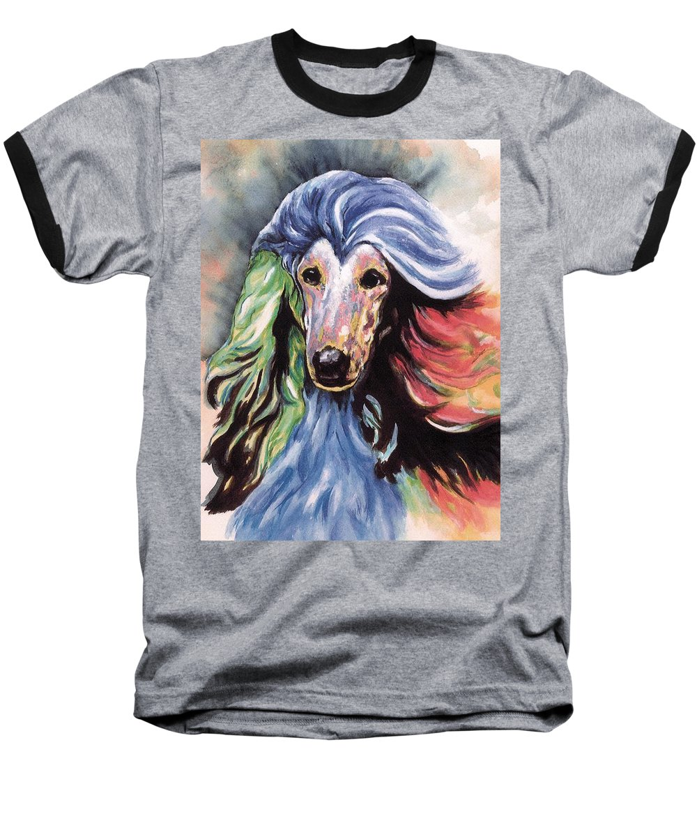 Afghan Hound Baseball T-Shirt featuring the painting Afghan Storm by Kathleen Sepulveda