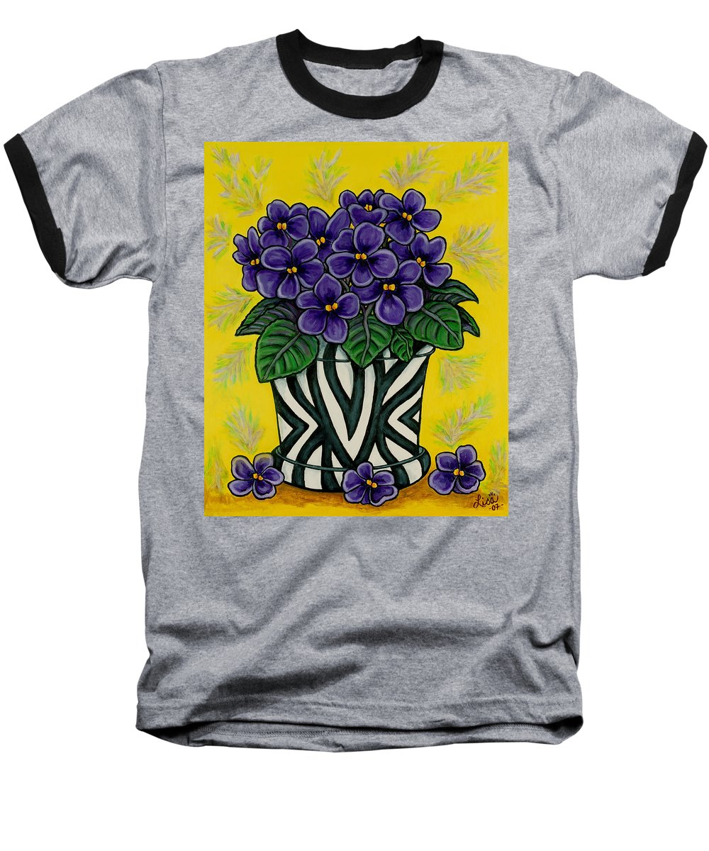 Violets Baseball T-Shirt featuring the painting African Queen by Lisa Lorenz
