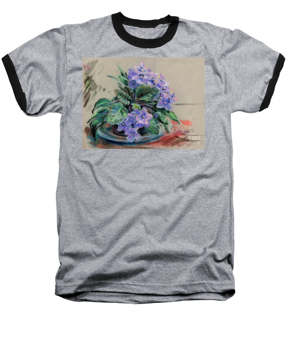 African Violets Baseball T-Shirt featuring the drawing African Violet by Donald Maier