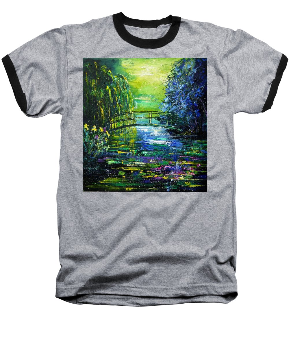 Pond Baseball T-Shirt featuring the painting After Monet by Pol Ledent