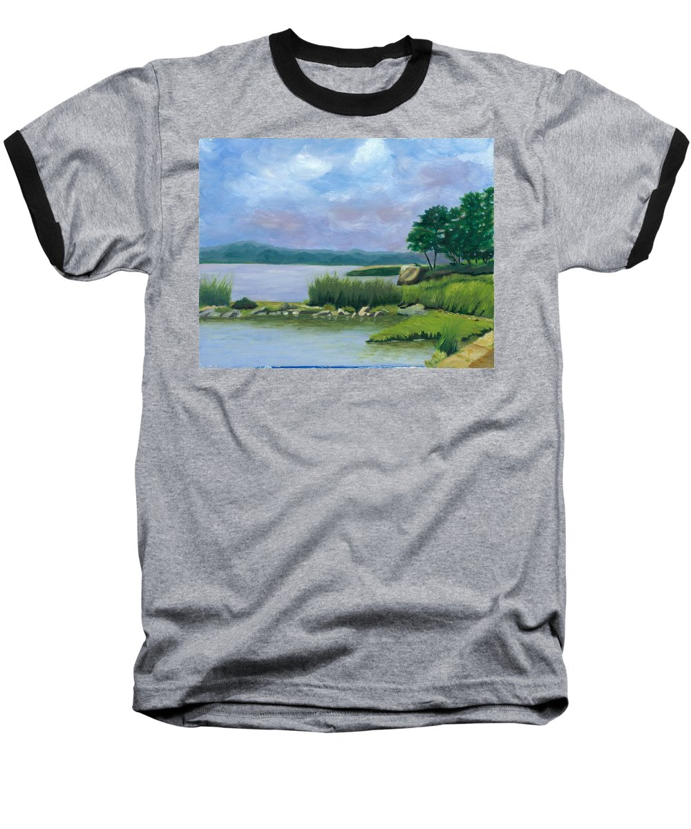 Seascape Baseball T-Shirt featuring the painting Afternoon At Pilgrim by Paula Emery
