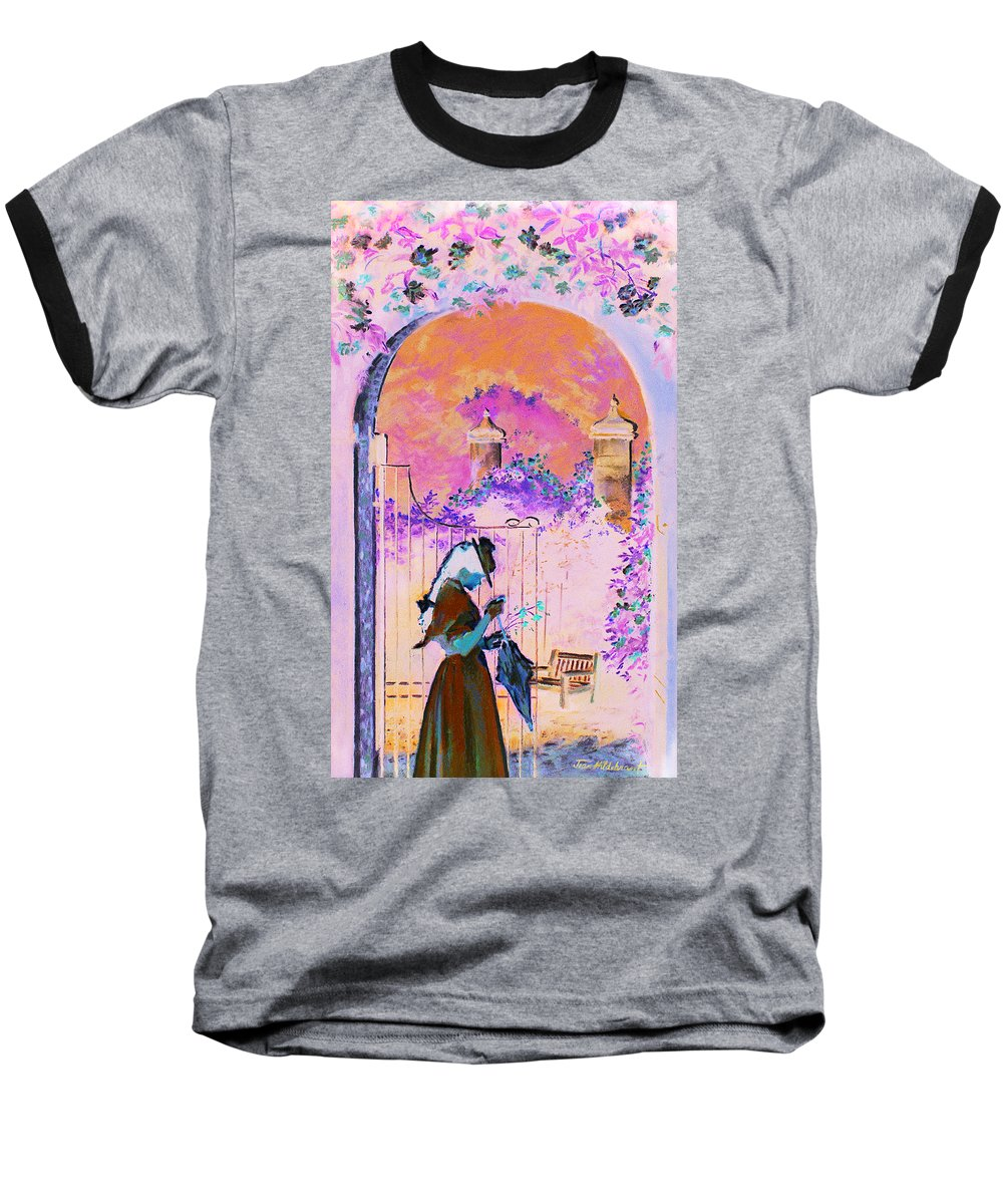 Rose Baseball T-Shirt featuring the painting Afternoon Stroll by Jean Hildebrant