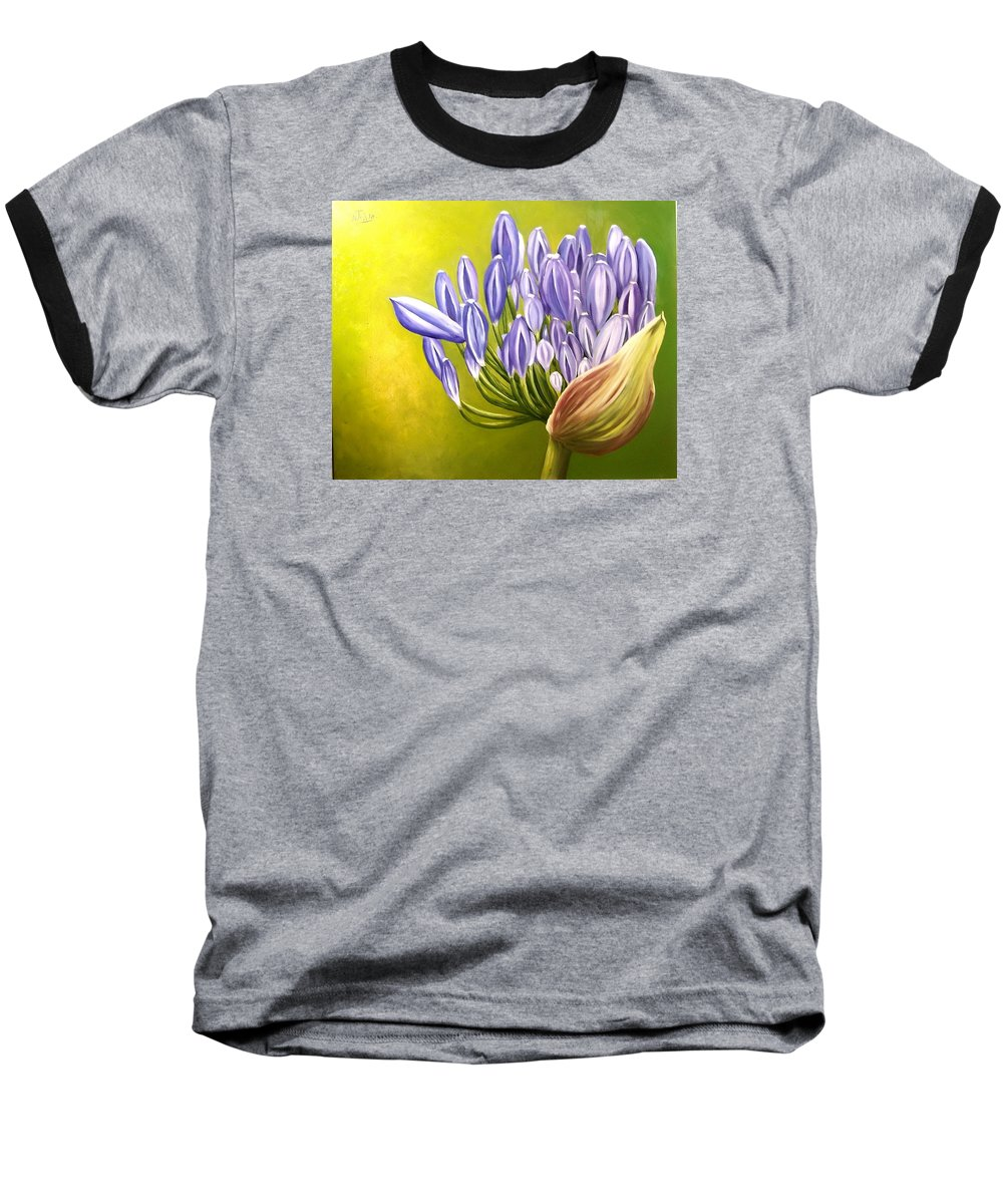 Flower Baseball T-Shirt featuring the painting Agapanthos by Natalia Tejera