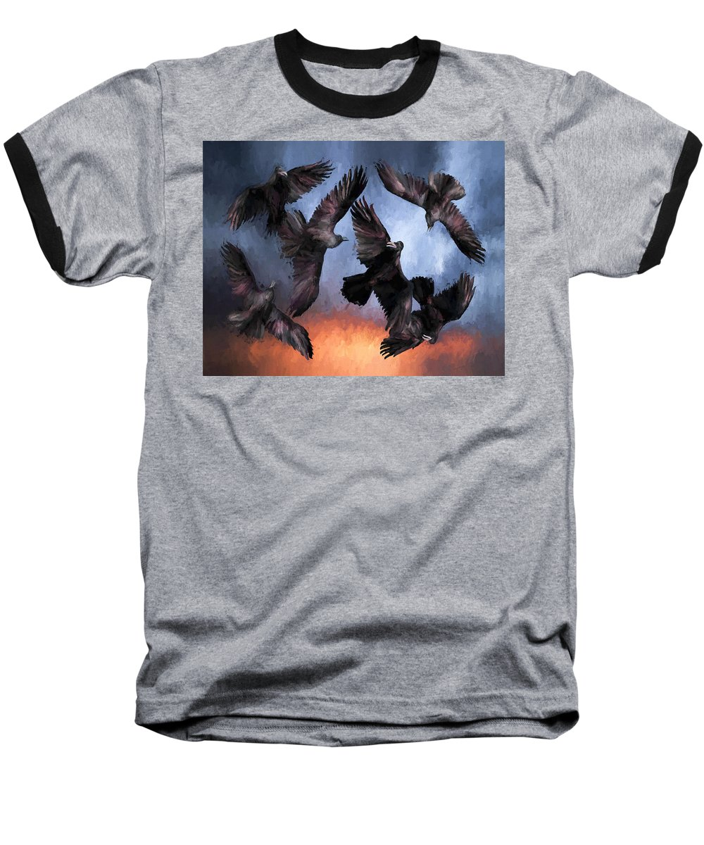 Fine Art Baseball T-Shirt featuring the painting Airborne Unkindness by David Wagner