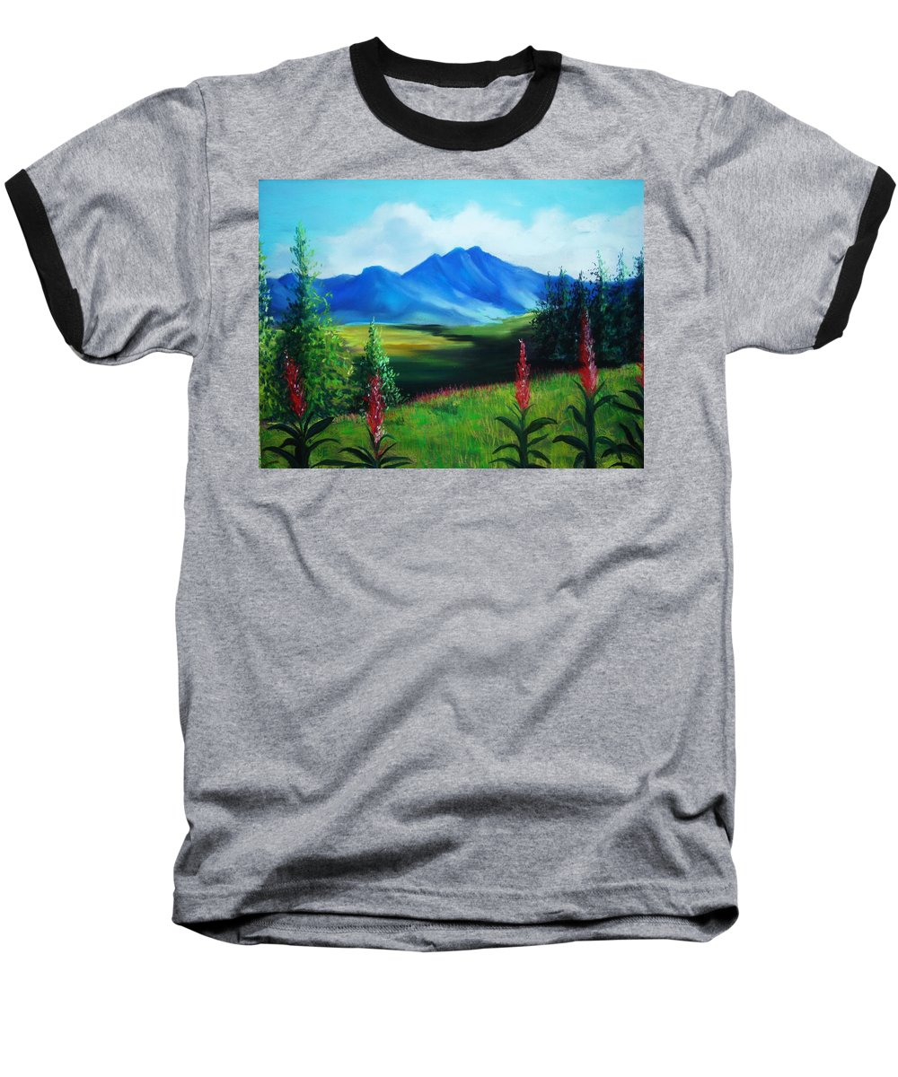 Alaska Baseball T-Shirt featuring the pastel Alaska by Melinda Etzold