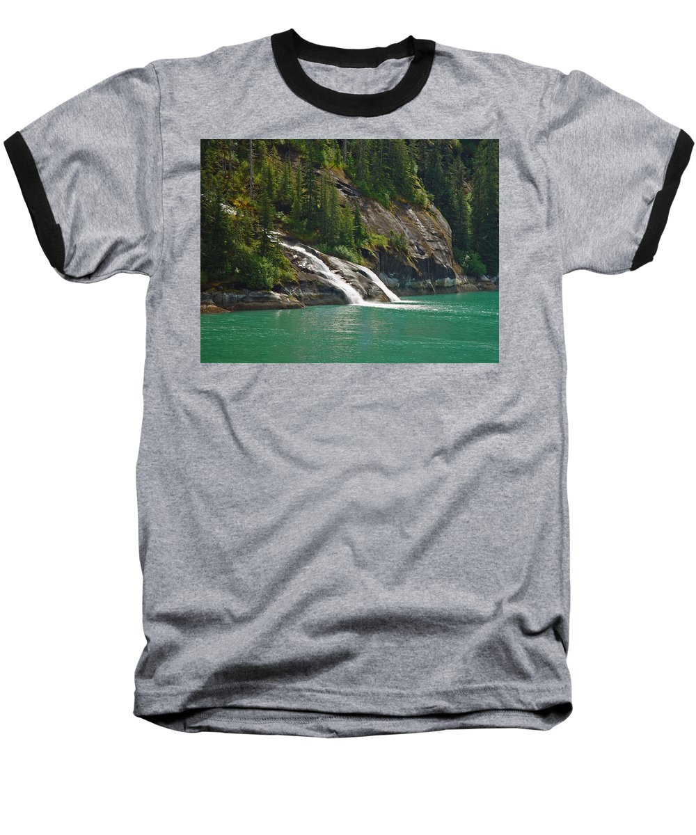 Waterfall Baseball T-Shirt featuring the photograph Alaska Tracy Arm by Heather Coen