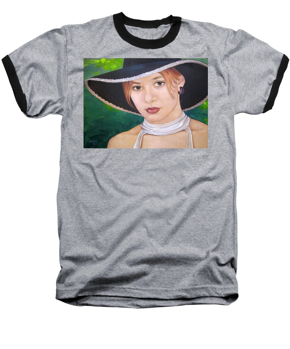 Pretty Girl Baseball T-Shirt featuring the painting Alexis by Jerrold Carton