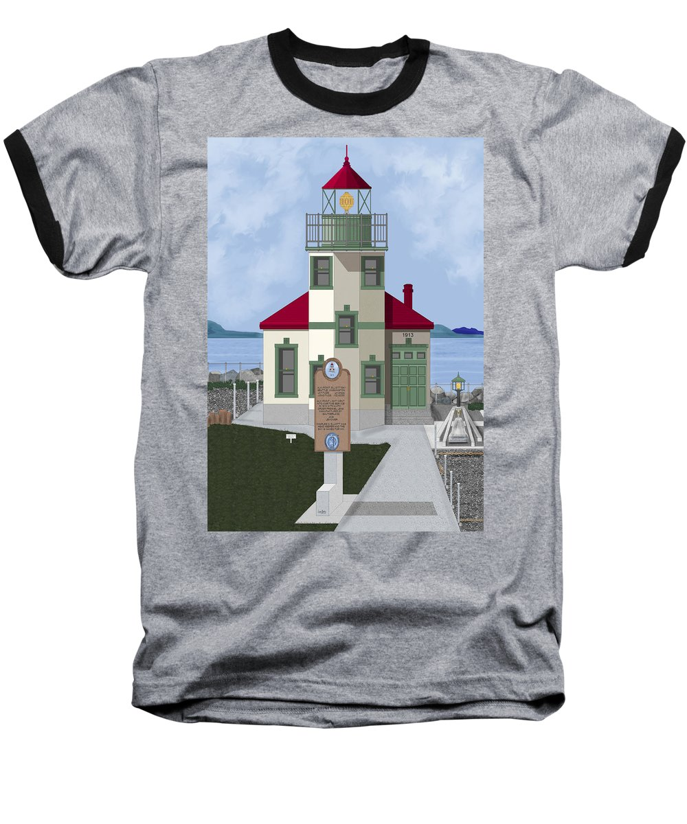 Lighthouse Baseball T-Shirt featuring the painting Alki Point On Elliott Bay by Anne Norskog