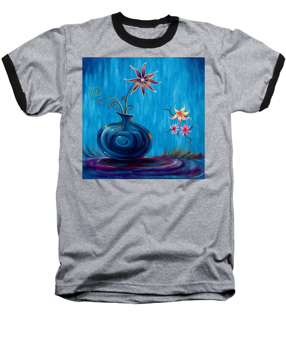 Fantasy Floral Scape Baseball T-Shirt featuring the painting Aloha Rain by Jennifer McDuffie