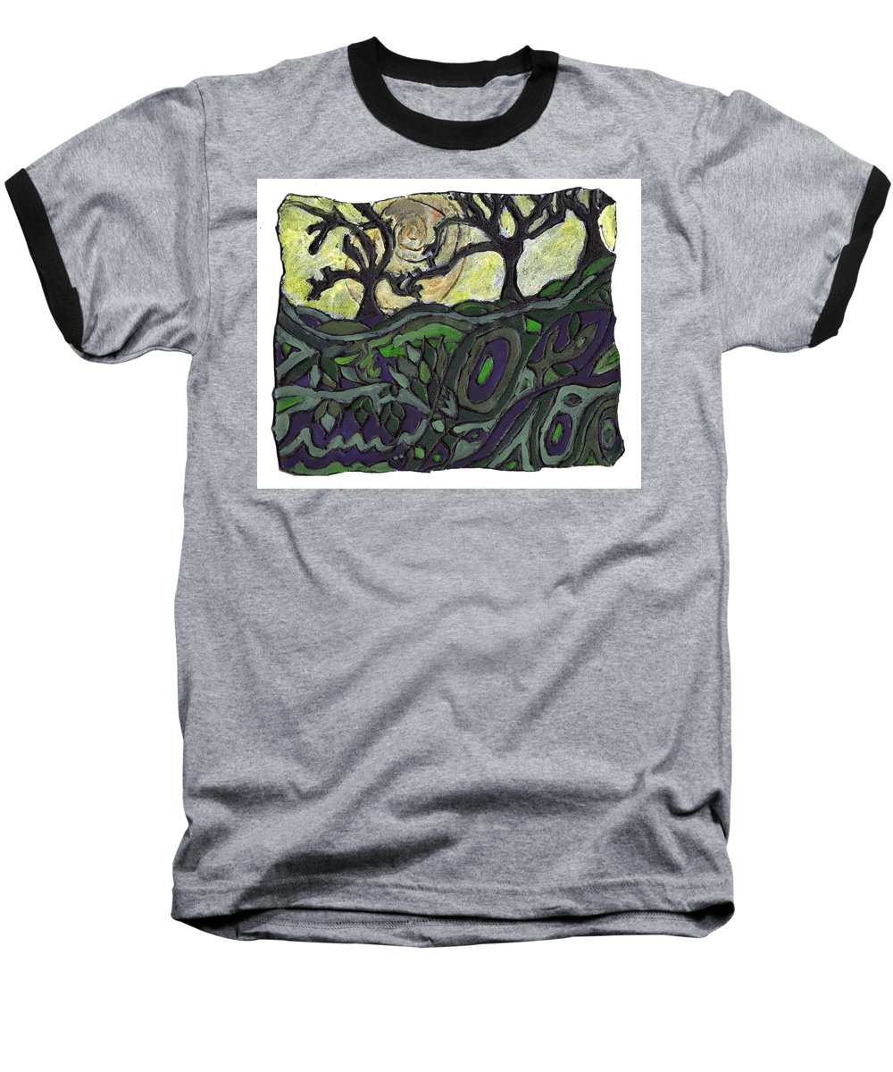 Woods Baseball T-Shirt featuring the painting Alone In The Woods by Wayne Potrafka