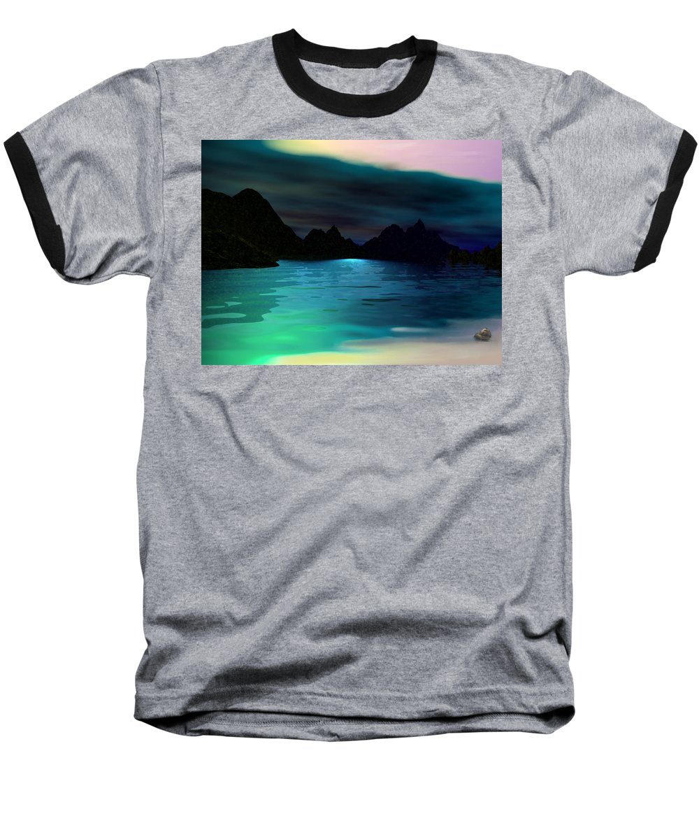 Seascape Baseball T-Shirt featuring the digital art Alone On The Beach by David Lane