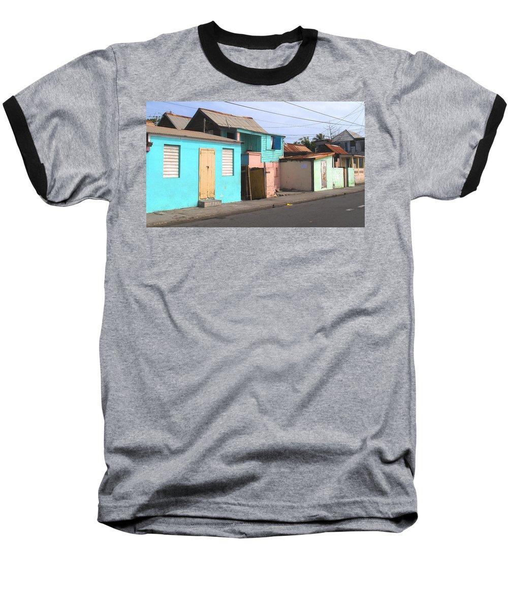 St Kitts Baseball T-Shirt featuring the photograph Along Bay Road by Ian MacDonald