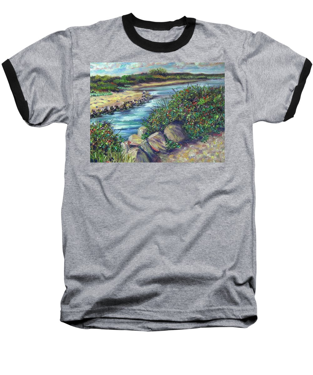 New England Baseball T-Shirt featuring the painting Along The Connecticut Shore by Richard Nowak