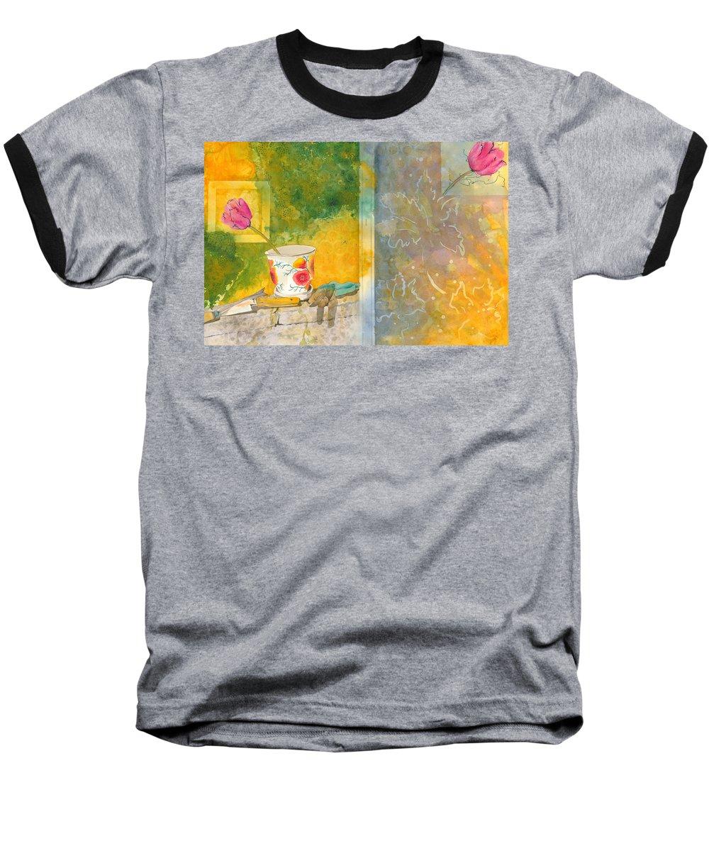 Garden Baseball T-Shirt featuring the painting Along The Garden Wall by Jean Blackmer